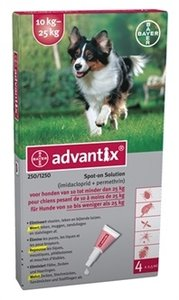 Advantix spot on 250/1250 hond 10 kg tot 25 kg