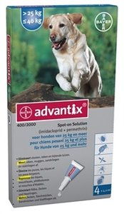Advantix spot on 400/2000 hond 25 kg tot 40 kg